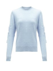 Barrie Embroidered Sleeve Cashmere Sweater Light Blue