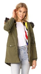 Jocelyn Cargo Coat With Mink Liner Green Bright Multi