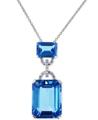 Effy Collection Effy Blue Topaz 16 3 4 Ct. T.W. And Diamond Accent Pendant Necklace In 14K White Gold