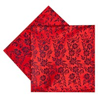 Duchamp Duplicate Floral Silk Pocket Square Red