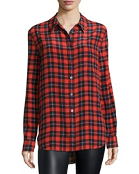 Equipment Reese Button Front Plaid Shirt Cherry Red Multi