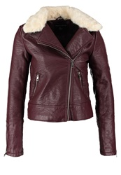 Dorothy Perkins Faux Leather Jacket Burgundy Bordeaux