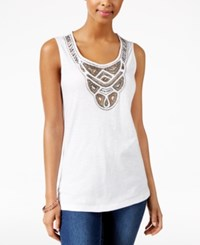 Jm Collection Petite Embellished Tank Top Only At Macy's Bright White