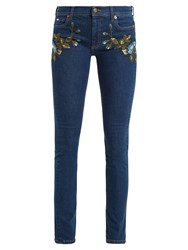 Gucci Floral Embroidered Mid Rise Skinny Leg Jeans Denim