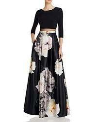 Dylan Gray Illusion Waist Gown Black Floral