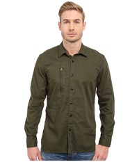 G Star Powel 3D Long Sleeve Shirt In Lightweight Lopp Overdye Sage Bright Rovic Green Men's Long Sleeve Button Up