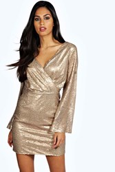 Boutique Lisa Sequin Wrap Sleeve Bodycon Dress