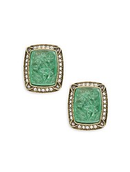 Heidi Daus Asian Carving Glass And Crystal Earrings Green