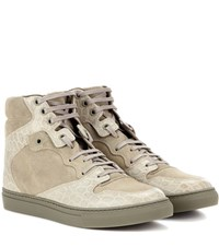 Balenciaga Leather And Suede High Top Sneakers Green