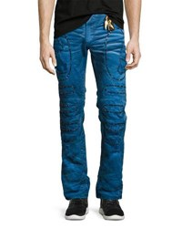 Robin's Jeans Embellished And Distressed Moto Skinny Blue