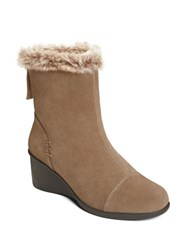 Aerosoles Bravery Faux Fur Trim Suede Ankle Boots Taupe