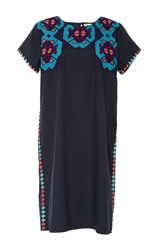 Figue Tia Embroidered Midnight Dress Navy