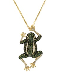Effy Collection Diaverde By Effy White Diamond 1 8 Ct. T.W. And Green Diamond 3 4 Ct. T.W. Frog Pendant Necklace In 14K Gold