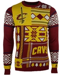 Forever Collectibles Men's Cleveland Cavaliers Patches Christmas Sweater Maroon Gold