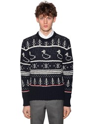 Thom Browne Mohair And Wool Fair Isle Knit Sweater Navy