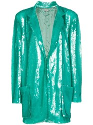 Natasha Zinko Longline Sequin Single Breasted Blazer Green