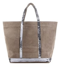 Vanessa Bruno Cabas Moyen Embellished Leather Shopper Grey