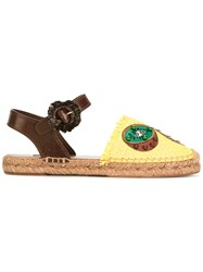 Dolce And Gabbana Pineapple Kiwi Patch Espadrilles Yellow Orange