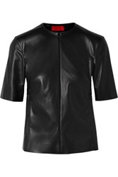 Commission Gathered Faux Leather Top Black