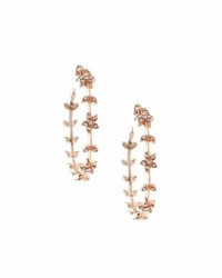 Lydell Nyc Rose Tone Crystal Flower Hoop Earrings