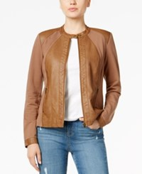 Styleandco. Style Co. Mixed Media Faux Leather Jacket Only At Macy's Saddle