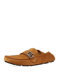 Gucci Noel Suede Driver With Double G Light Brown
