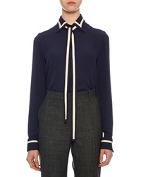 Valentino Contrast Striped Georgette Button Front Blouse With Neck Tie Blue White