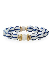Akola Striped Bead Stretch Bracelet Blue White
