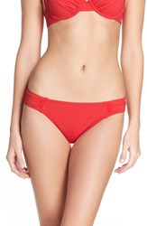 Tommy Bahama Women's Side Shirred Hipster Bikini Bottoms Poppy Red