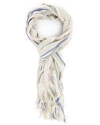 Hartford Ecru Linen Side Stripes Scarf