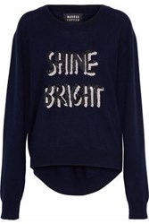 Markus Lupfer Joey Sequin Embellished Merino Wool Sweater Navy