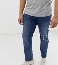 Jack And Jones Plus Size Slim Fit Jean In Mid Wash Blue