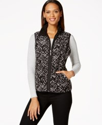 Karen Scott Faux Fur Lined Printed Vest Deep Black