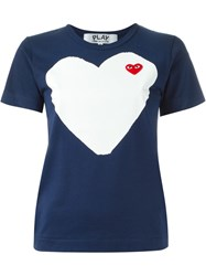 Comme Des Garcons Play Heart Print T Shirt Blue