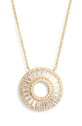Nina 'S Baguette Cubic Zirconia Circle Pendant Necklace Gold White Cz