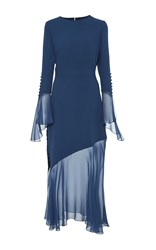 Prabal Gurung Ruffle Cuff Long Sleeve Dress Blue