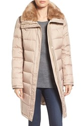 Cole Haan Women's Water Repellent Down And Feather Coat With Faux Fur Collar Sand