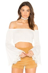 Wyldr Madison Bell Sleeve Crop Top Ivory