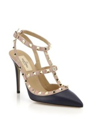 Valentino Rockstud Two Tone Leather Pumps Emerald Marine Blue Taupe Grey