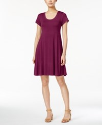 Style And Co Petite Short Sleeve A Line Dress Only At Macy's Magenta Blossom
