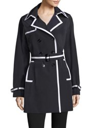 Jane Post Downtown Grosgrain Trim Trench Coat Navy