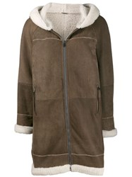 Brunello Cucinelli Hooded Shearling Coat Brown