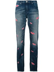 Each X Other Lips Print Boyfriend Jeans Women Cotton Spandex Elastane 24 Blue