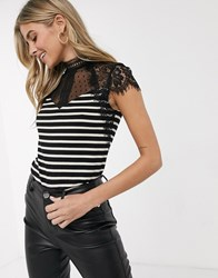 Morgan Lace Insert Detail Top In Mono Stripe Multi