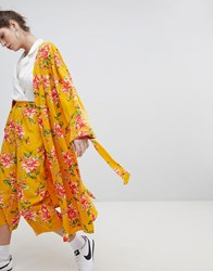 Neon Rose Kimono In Vintage Bloom Co Ord Mustard Floral Yellow
