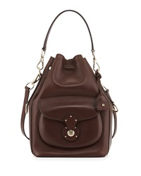 Ralph Lauren Ricky Calfskin Bucket Bag Dark Brown