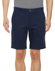 Black Brown Stretch Cotton Chino Shorts Bright Navy