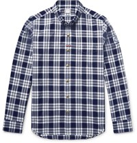Moncler Gamme Bleu Slim Fit Button Down Collar Checked Cotton Oxford Shirt Navy