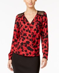 Thalia Sodi Printed Faux Wrap Blouson Top Only At Macy's Lipstick Red Combo