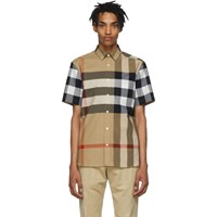 Burberry Beige Check Windsor Short Sleeve Shirt